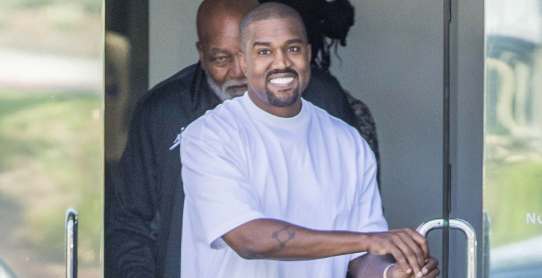 *EXCLUSIVE* Kanye West is all smiles walking his visitors out