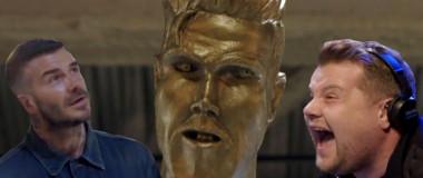 david beckham statuie farsa james corden