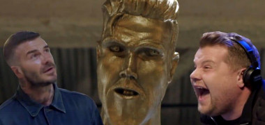 david beckham statuie farsa james corden