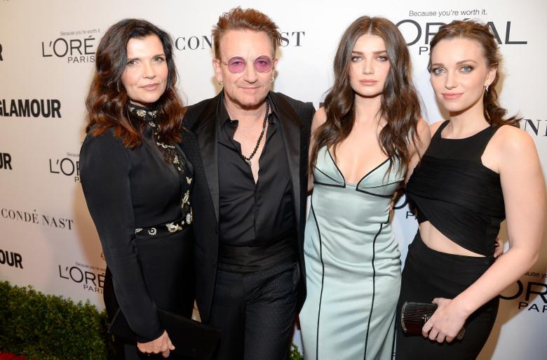 Alison Hewson, Bono, Eve Hewson, Jordan Hewson. Foto: Kevork Djansezian/Getty Images
