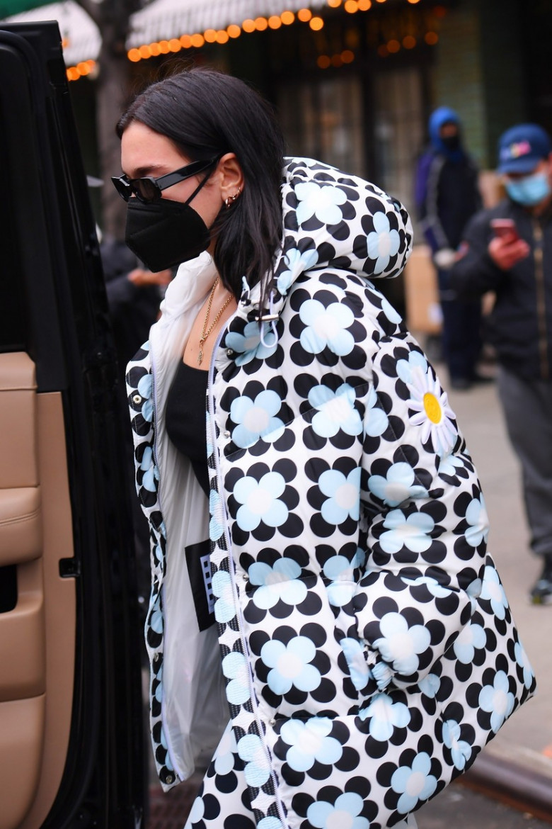 Dua Lipa heads out wearing black and white in NYC