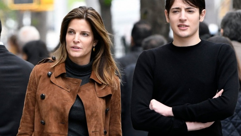 Stephanie Seymour and Harry Brant seen walking on Madison Avenue in New York City