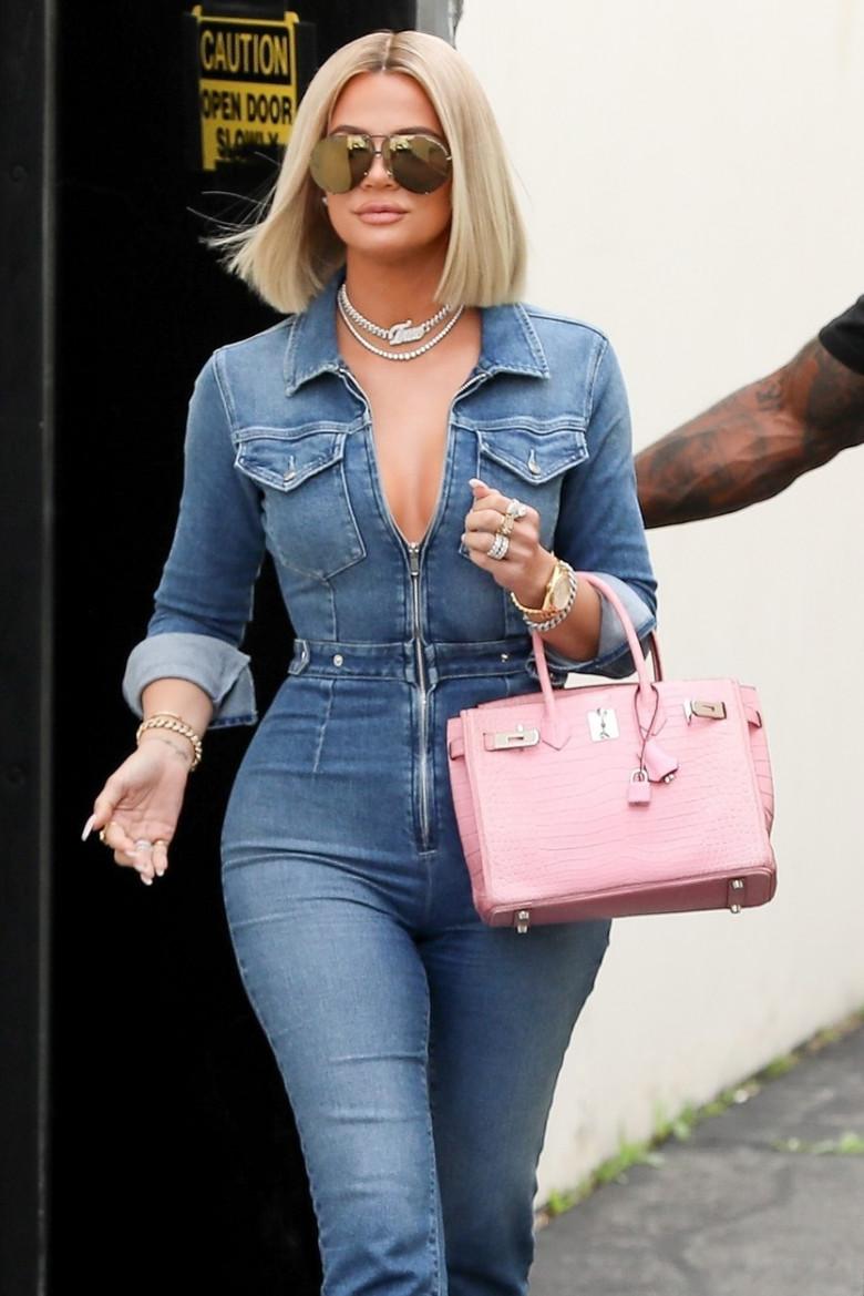 *EXCLUSIVE* Denim babe Khloe Kardashian leaves the studio in a jean jumpsuit