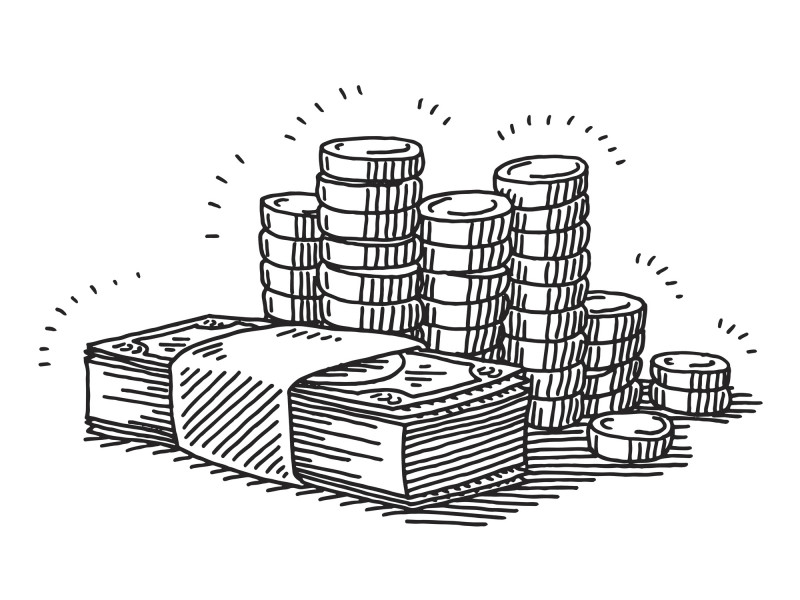 Hand-drawn vector drawing of Money Banknotes And Coins. Black-and-White sketch on a transparent background (.eps-file). Included files are EPS (v10) and Hi-Res JPG.