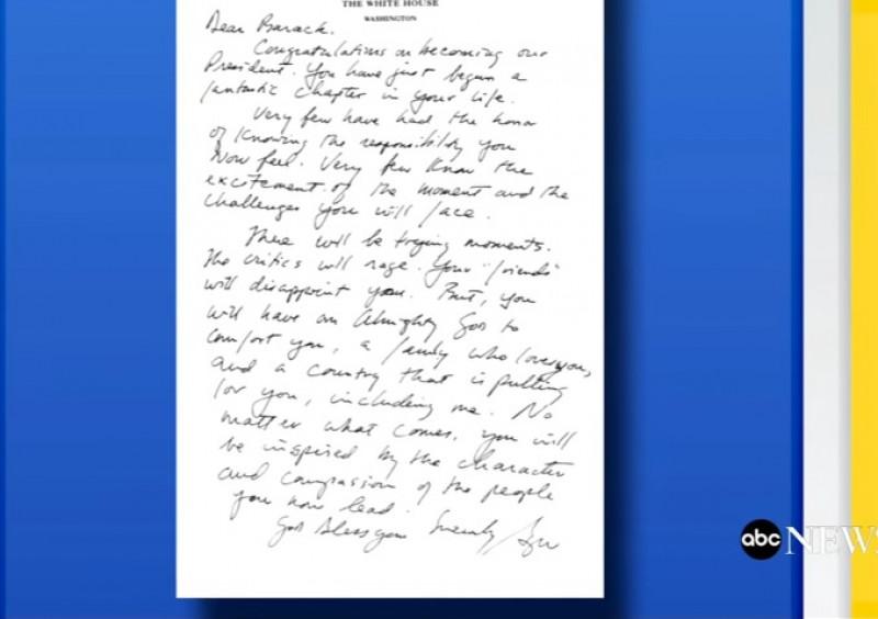 scrisoare bush catre barack