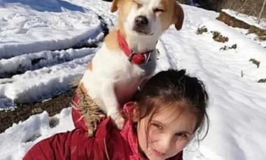 Motivul pentru care o fetiță de nouă ani și-a cărat în spate câinele, prin zăpadă, doi kilometri