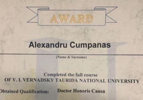 Cumpănașu nu a absolvit facultatea, dar are titlu de Doctor Honoris Causa