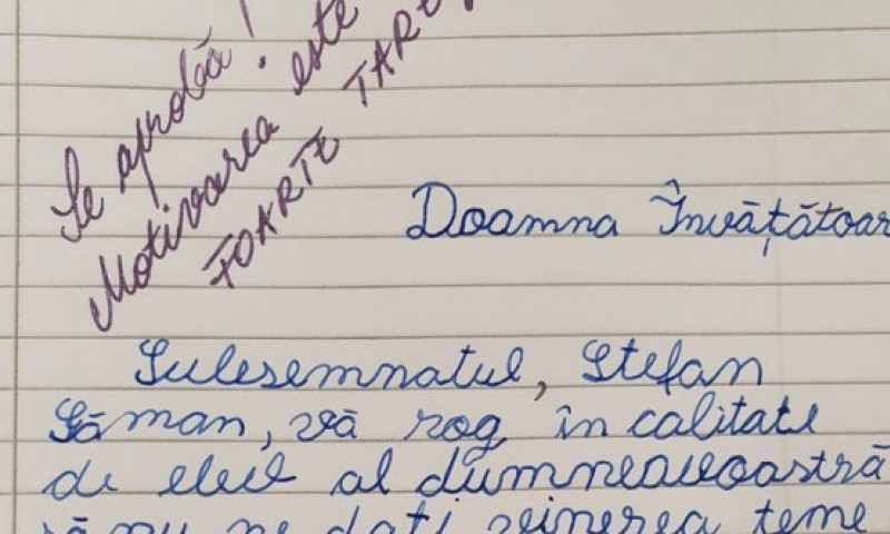 VIRAL: Cererea trimisă de un elev învățătoarei sale. Argumentul copilului a impresionat-o