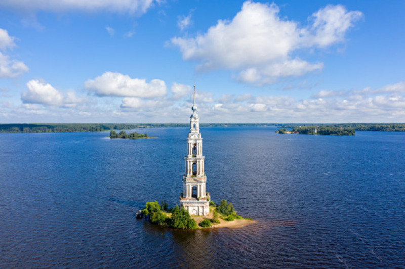 Kalyazino,,Russia.,The,Flooded,Kalyazin,Bell,Tower.,Waters,Of,Uglich