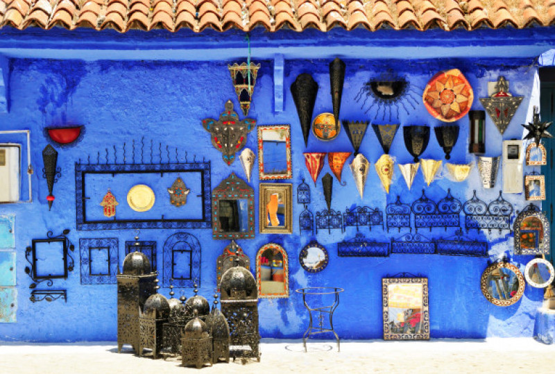 Gift,Shop,In,Chefchaouen,,Marocco.,Colorful,Moroccan,Handmade,Souvenirs