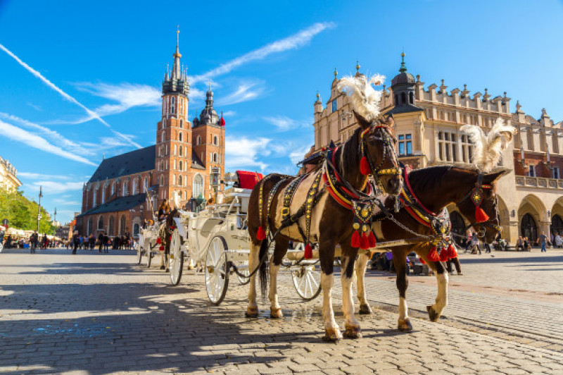 Horse,Carriages,At,Main,Square,In,Krakow,In,A,Summer