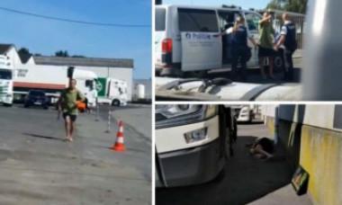 Un şofer român de TIR a făcut prăpăd într-o parcare din Belgia, pentru că soţia îl înşela. VIDEO