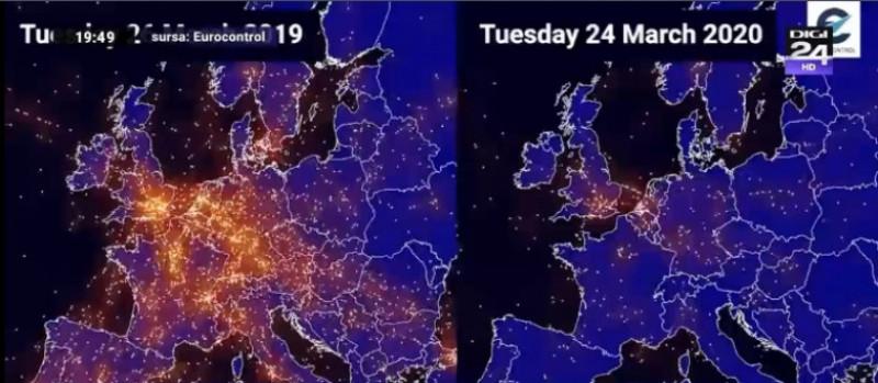 Foto Video Cum Arată Harta Zborurilor In Europa Acum Comparativ