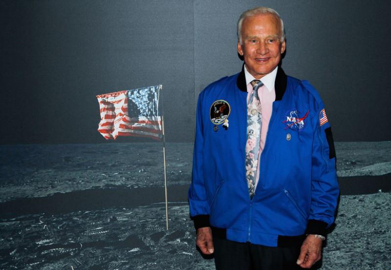 Buzz Aldrin Installs Artifact at New Intrepid Museum Exhibition 27 Seconds