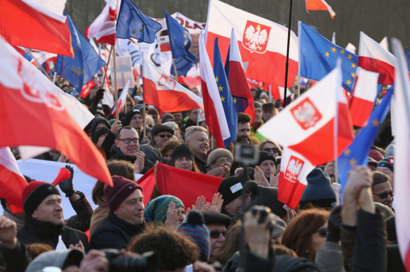 Pro-Democracy Protesters March In Warsaw