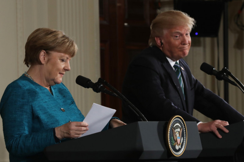Donald Trump Holds Joint Press Conference With German Chancellor Angela Merkel
