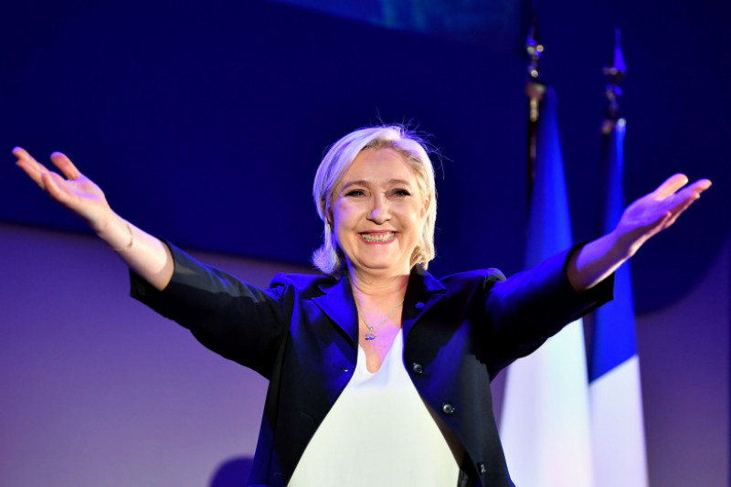 Presidential Candidate Marine Le Pen Spends Election Day In Northern Strong Hold