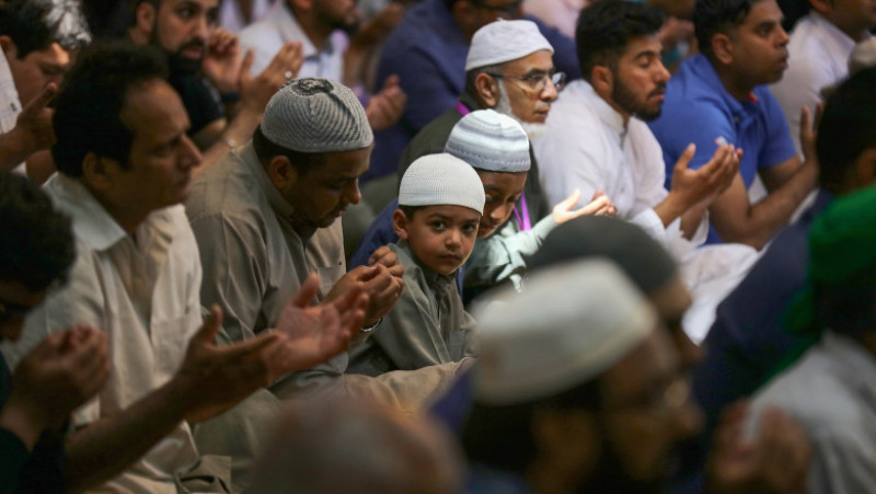 Friday Prayers Take Place At The Central Manchester Mosque
