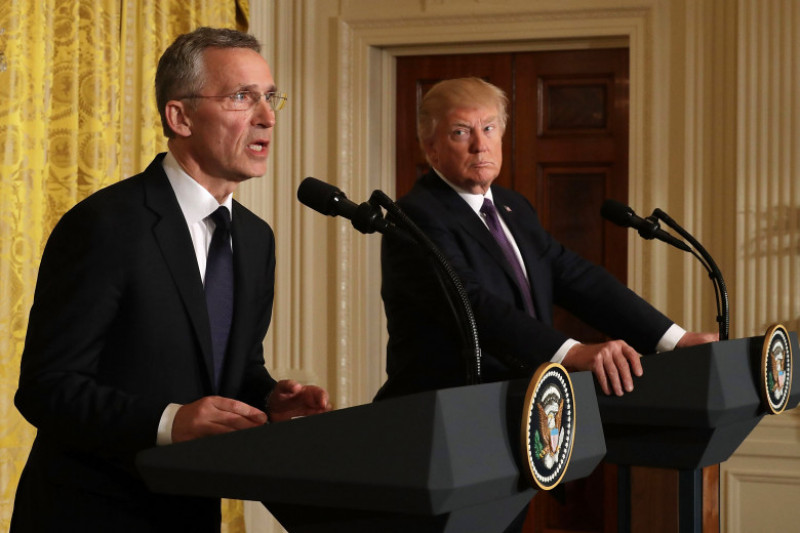 Donald Trump And NATO Secretary General Jens Stoltenberg Hold Joint News Conf.