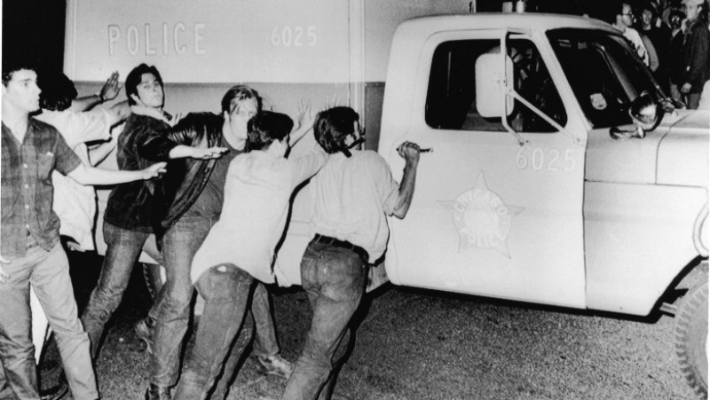 Protestors Push Police Vehicle At 1968 Democratic National Convention