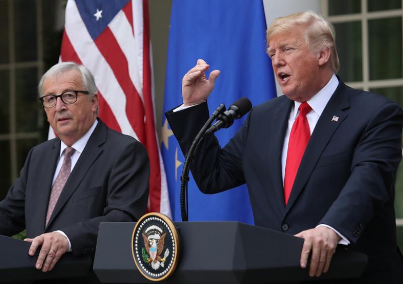 President Trump And European Commission President Jean-Claude Juncker Makes Statement In Rose Garden