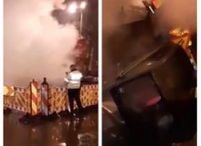 O șoferiță a căzut cu mașina într-o groapă din cauza aburilor