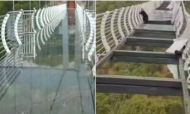 Bărbat rămas suspendat la 100 de metri în aer, după ce podul de sticlă pe care se afla a fost distrus de vânt