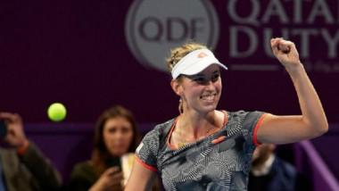 Reacția Simonei Halep după time-out-ul lui Mertens, care a contat decisiv în finala de la Doha