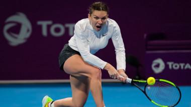 Lovitură de gală reușită de Simona Halep, în finala de la Doha. Reacția de milioane a lui Van Cleemput