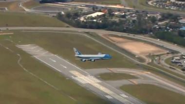 Americanii au publicat imagini spectaculoase cu aterizarea avionului lui Donald Trump la Daytona Beach
