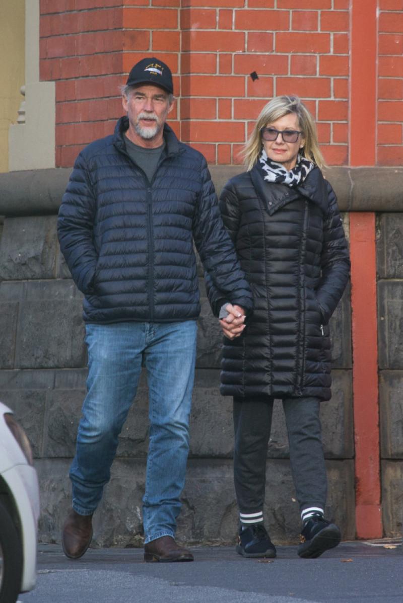 EXCLUSIVE: Olivia Newton-John and husband John Easterling get foot massages in Melbourne.