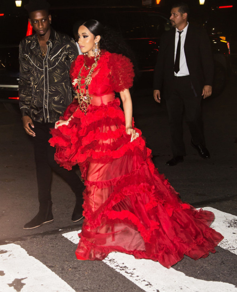 Cardi B and Nicki Minaj arrive at Harper's BAZAAR ICONS Party before their fight at The Plaza Hotel in New York