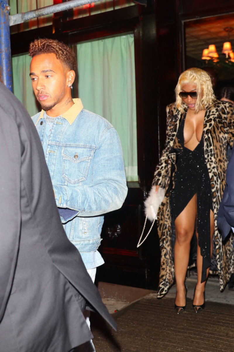 EXCLUSIVE: Nicki Minaj & Lewis Hamilton spotted arriving & leaving dinner together at Carbone this evening in NYC