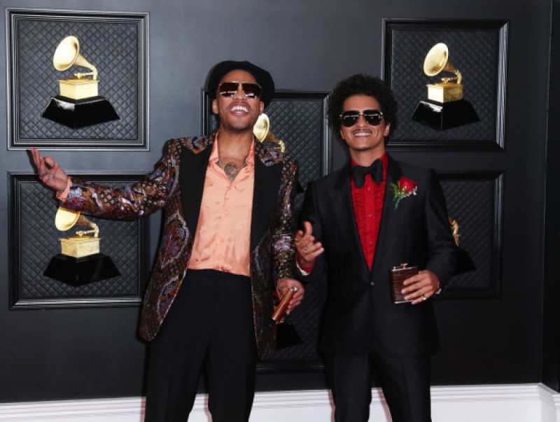 Musical talent pose on the red carpet at the 63rd Annual Grammy Awards show in downtown Los Angeles, Los Angeles Convention Center, Los Angeles, California, United States - 14 Mar 2021
