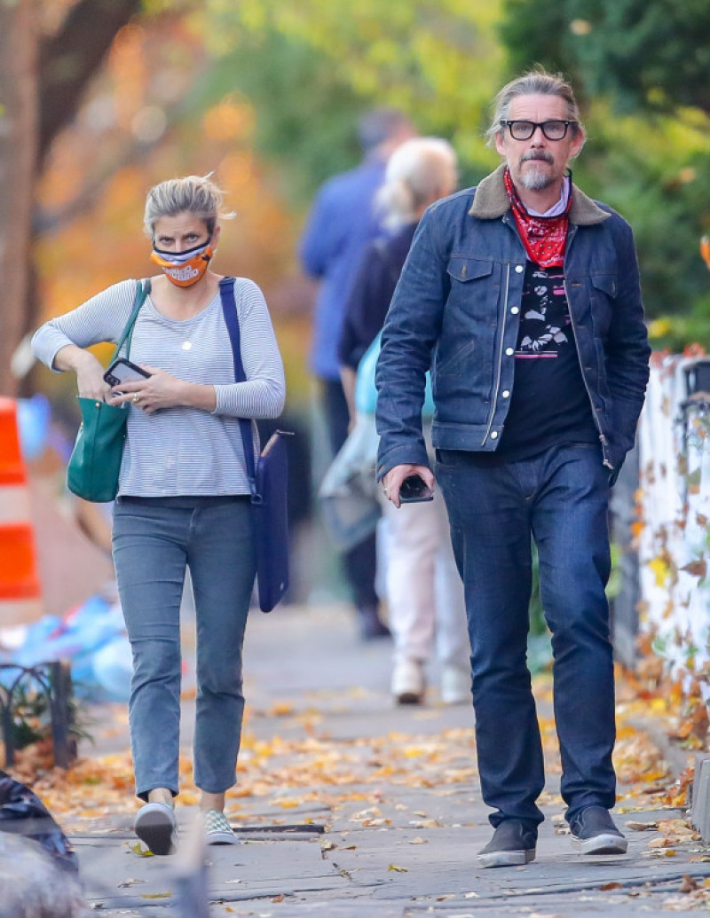 EXCLUSIVE: Ethan Hawke and Wife Ryan Shawhughes are Spotted on a Rare Outing in New York City.