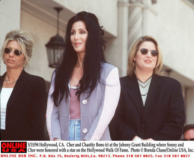 5/15/98 Hollywood, CA. Cher and Chastity Bono (r) at the Johnny Grant Building where Sonny and Cher
