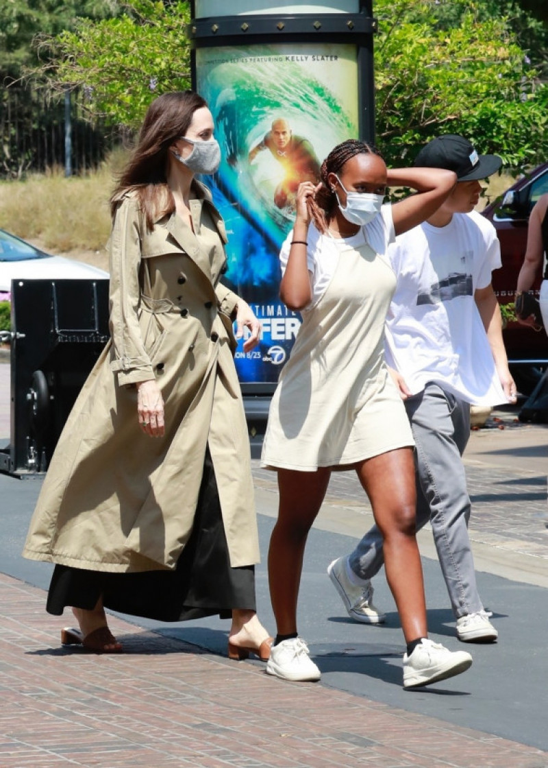 *EXCLUSIVE* Angelina Jolie goes shopping with Zahara and Pax at The Grove in LA