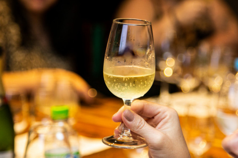 Female,Hand,Holding,Glass,Of,Sparkling,Wine.
