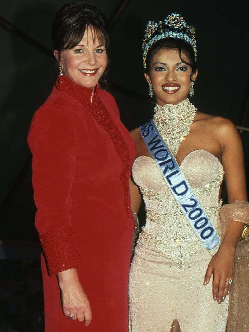 Miss World 2000 Priyanka Chopra with Miss World organiser Julia Morley