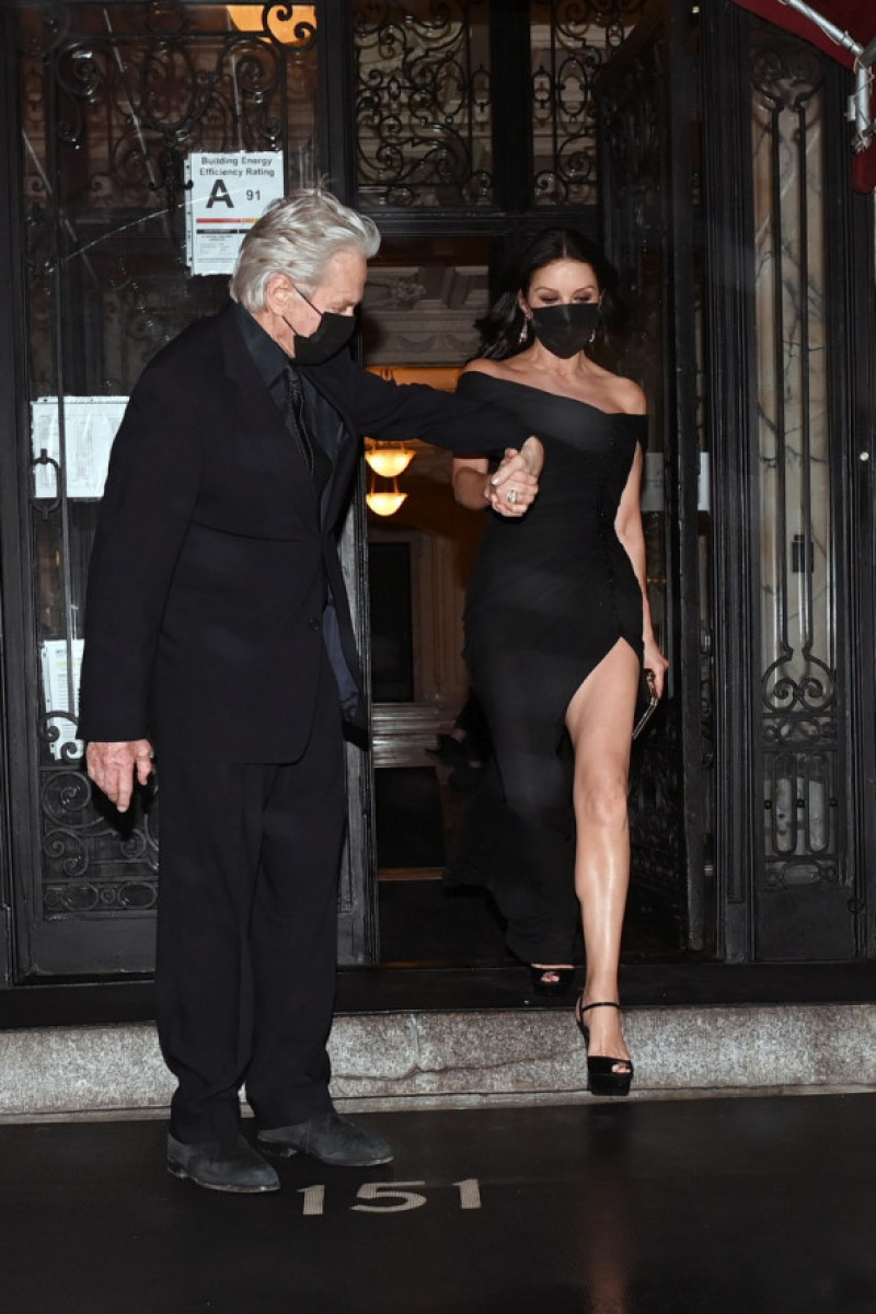 Catherine Zeta Jones and her husband Michael Douglas are seen leaving their New York City apartment on their way to The Golden Gloves