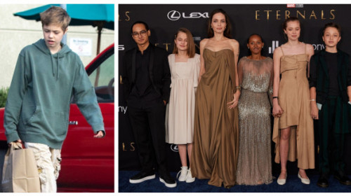 Shiloh, fiica Angelinei Jolie care voia să fie băiat, apariție rară. Adolescenta are părul lung și a îmbrăcat o rochie midi