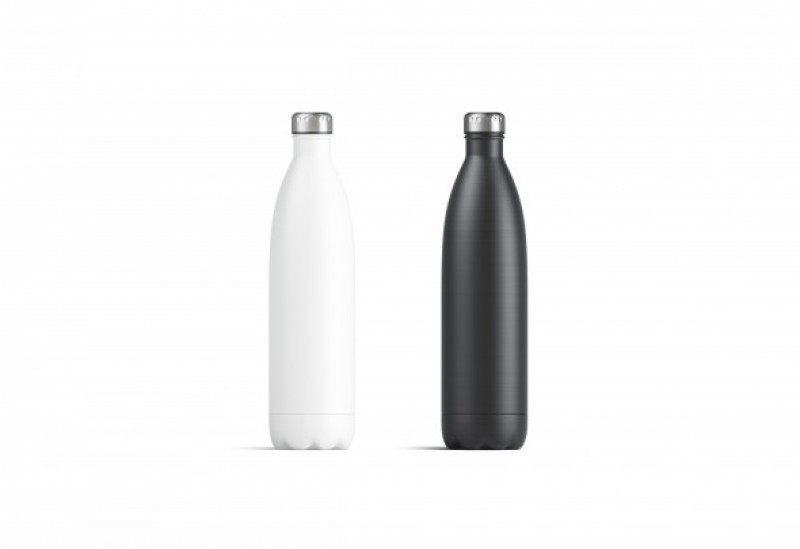 Blank white and black thermo sport bottles mockup