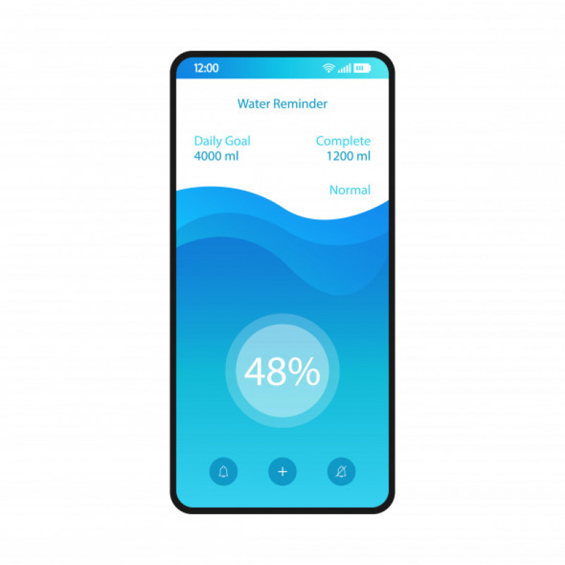 Water reminder app smartphone interface vector template