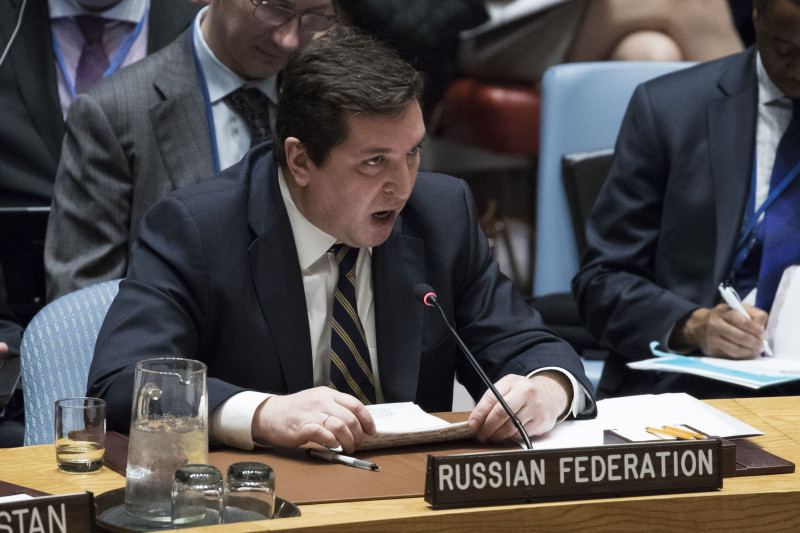 NEW YORK, NY - APRIL 5: Russian Deputy Permanent Representative to the United Nations Vladimir Safronkov speaks during a meeting of the United Nations Security Council at U.N. headquarters, April 5, 2017 in New York City. The Security Council is holding emergency talks on Wednesday following the worst use of chemical weapons in Syria since the Ghouta attack in 2013.   Drew Angerer/Getty Images/AFP == FOR NEWSPAPERS, INTERNET, TELCOS & TELEVISION USE ONLY ==