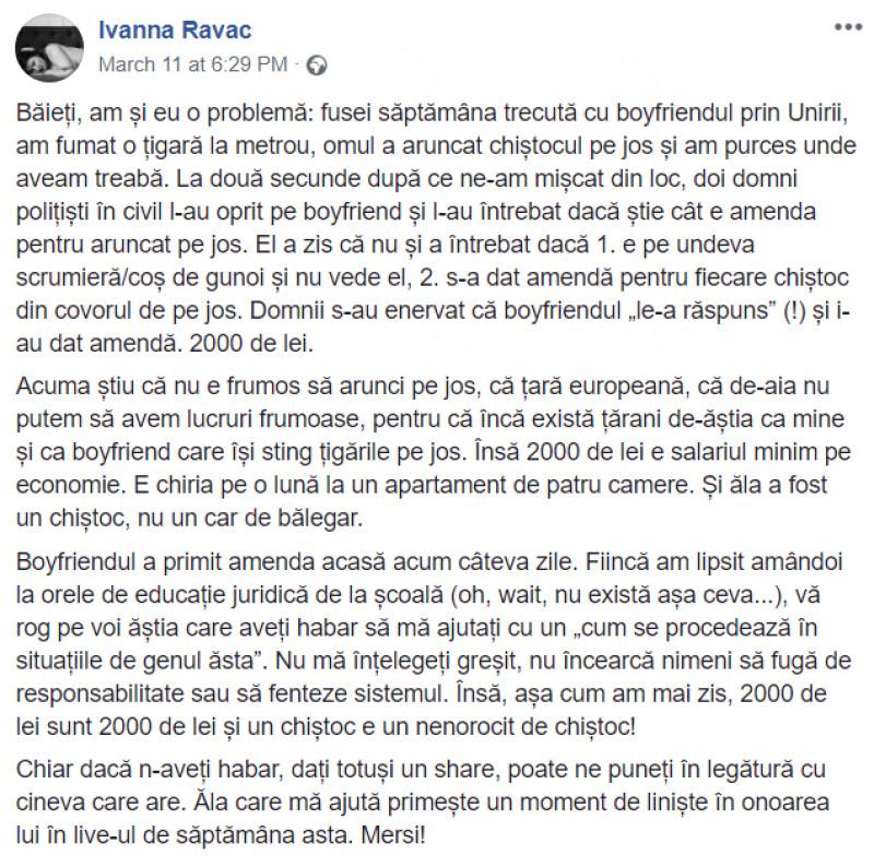 ivanna ravac, mesaj postat pe facebook